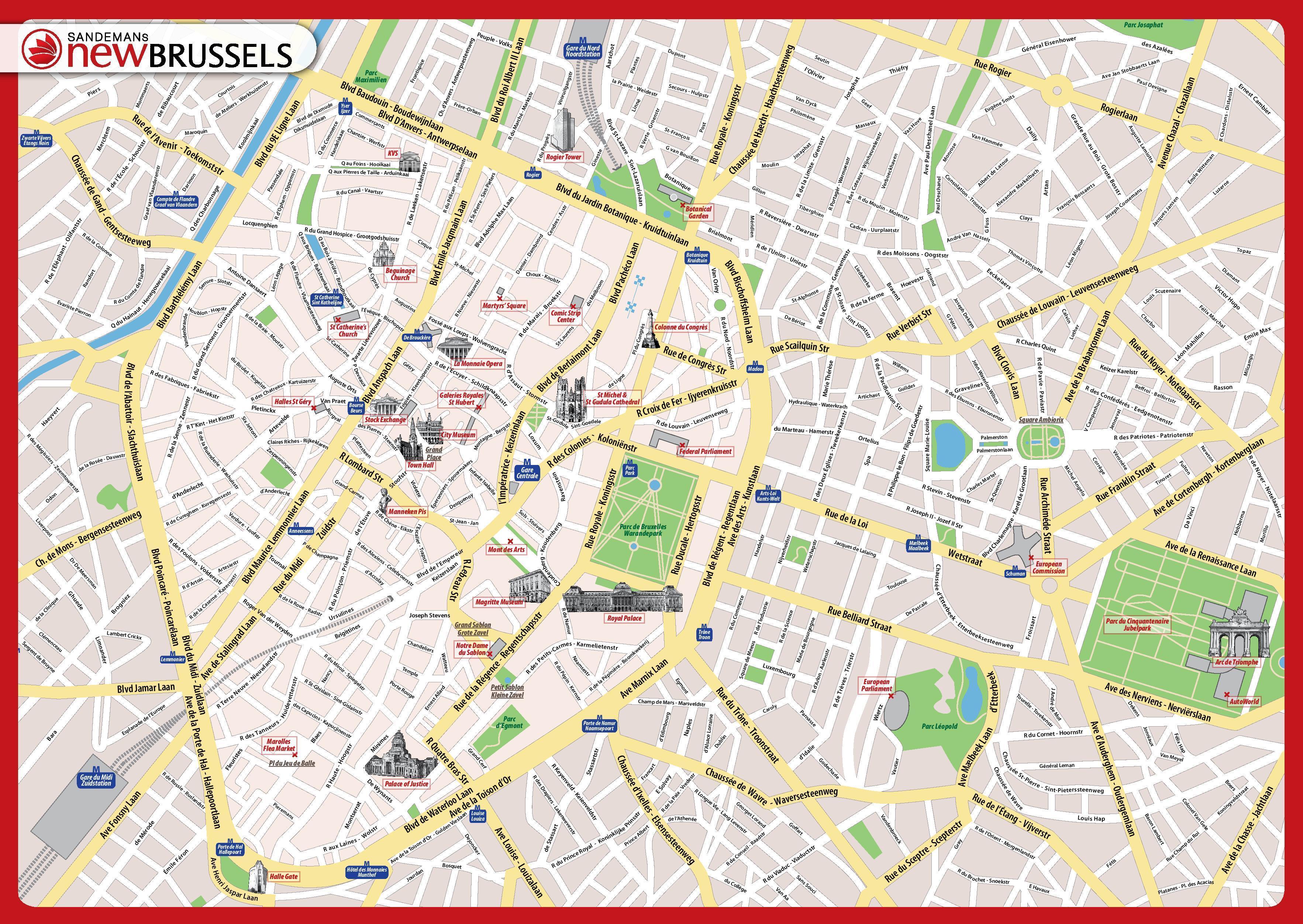 Centrum Af Bruxelles Kort Detaljeret Kort Over Bruxelles Belgien
